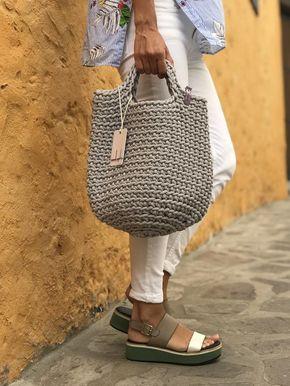 Photo of Bolso tono escandinavo estilo crochet bolso bolso hecho a mano bolso de punto regalo para su color SILVER GRAY HAIR