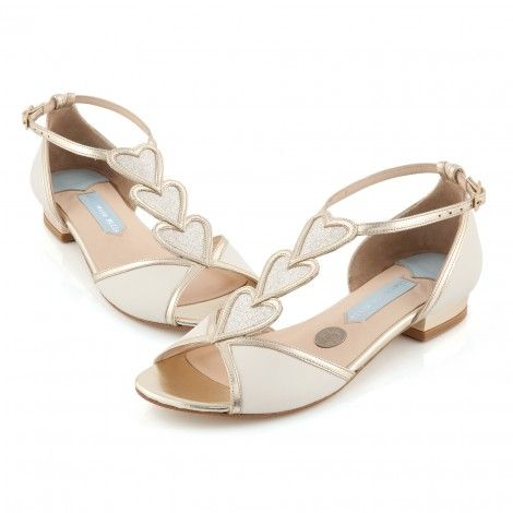 Charlotte Mills Blond Ivory And Gold Flat Designer Wedding Shoes
