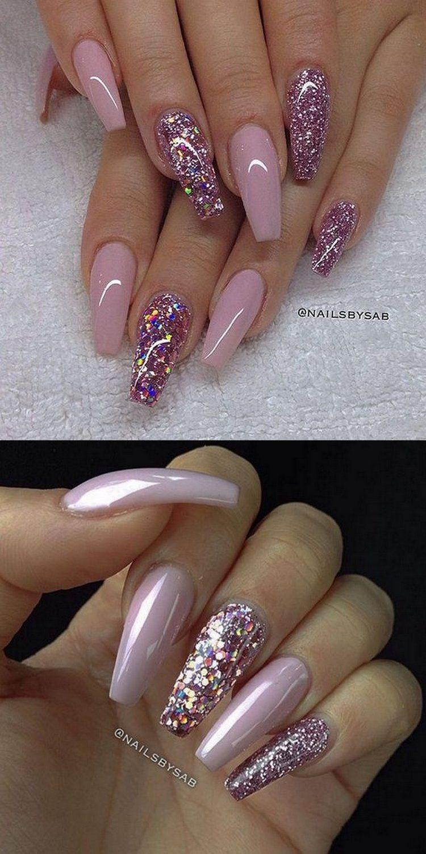 💅🏻 101 Trending Pink Nail Art & Polish Color Ideas - Nagel ...