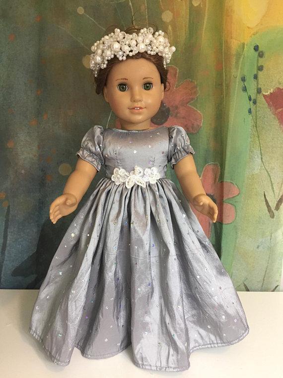 American Girl Custom Blue Lace Skater Dress Set