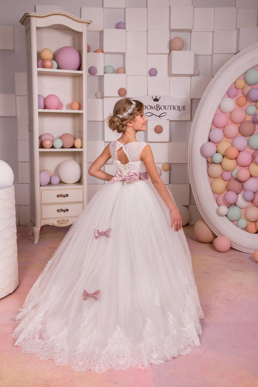 Ivory flower girl dress junior bridesmaid holiday birthday baby