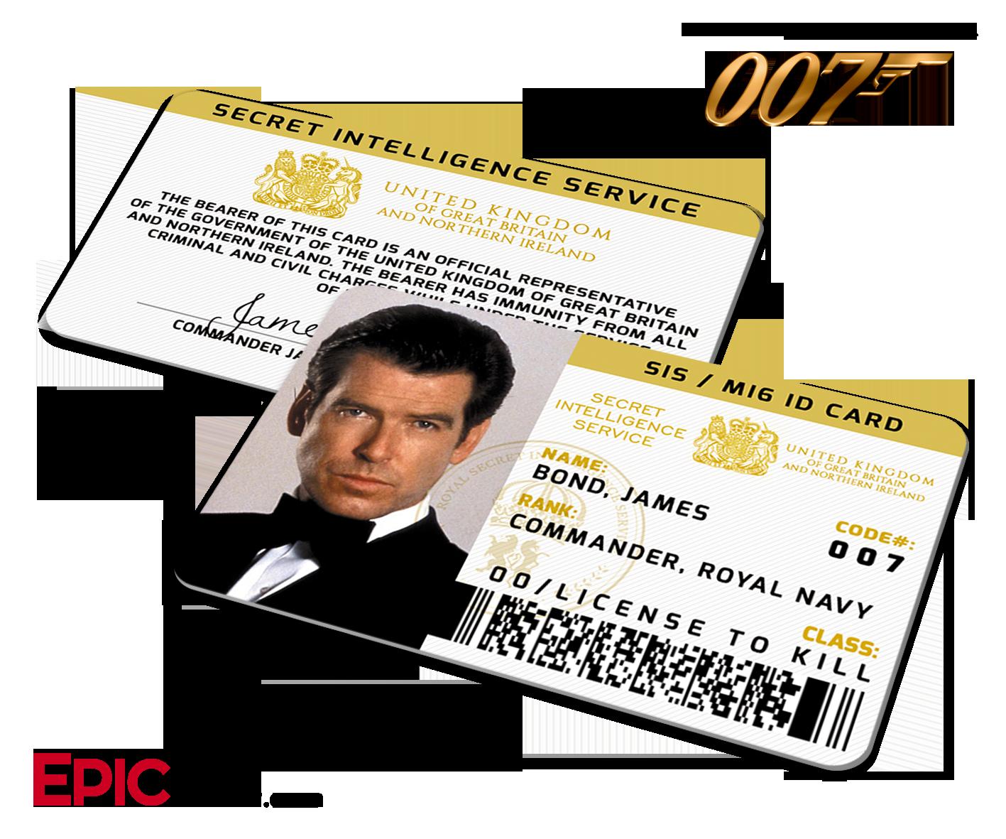 James Bond 007 Inspired Pierce Brosnan Secret Intelligence Service Id James Bond James Bond Movie Posters James Bond Movies