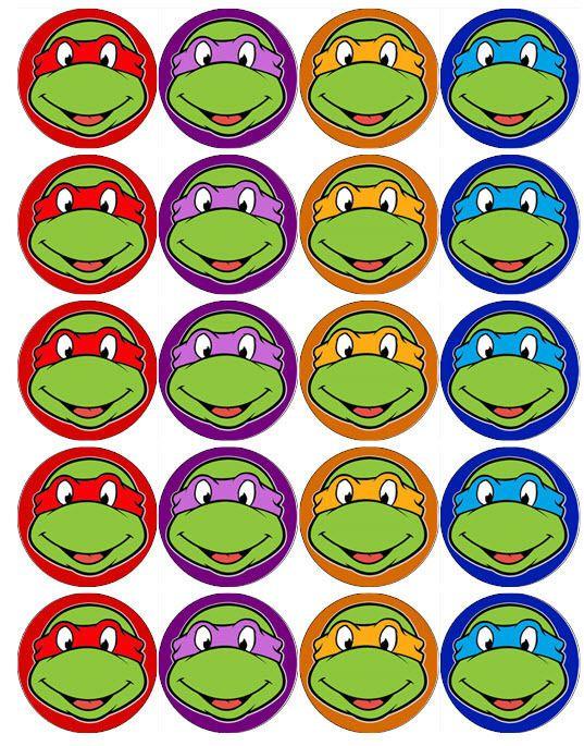 Teenage Mutant Ninja Turtles Faces V2 Tmnt Edible Wafer Paper Toppers Cupcakes Ebay Ninja Turtle Mask Ninja Turtles Birthday Party Ninja Turtle Invitations