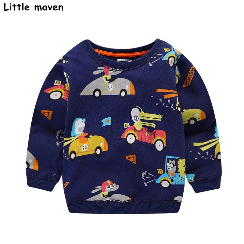 3a68a36298454 Little maven baby boys clothes 2017 autumn children cotton long sleeve  terry knitted racing car print thick t shirt C0039