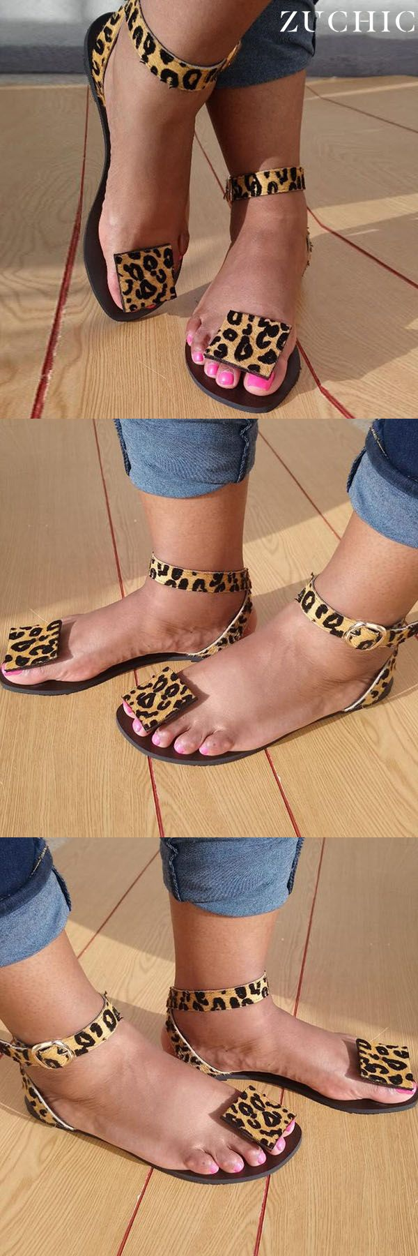 Hot Sale>>Women Summer Faxu Suede Leopard Sandals is part of Shoes -