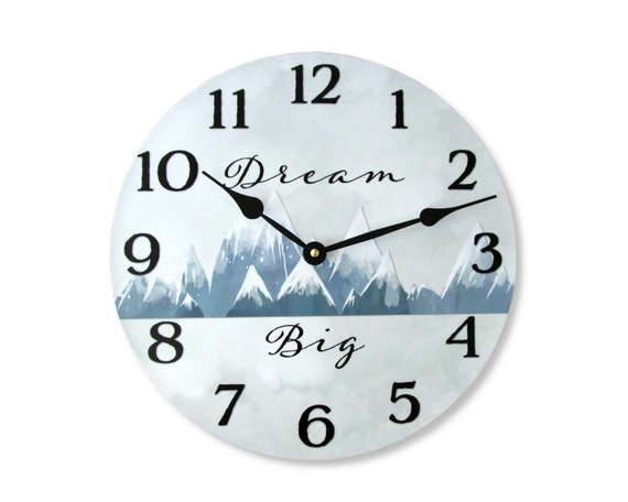 Wall Clock With Winter Mountains Unique Nursery Decor Baby Shower Gift