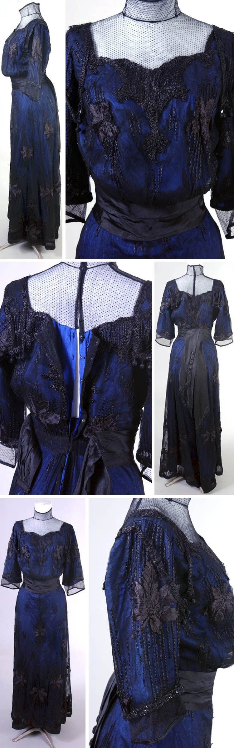 One-piece dress, 1900. Black & blue silk organza with silk lining. Embroidery in leaf motif on overlay. Dorothea June Grossbart (WSU) Historic Costume Collection, Wayne State Univ.