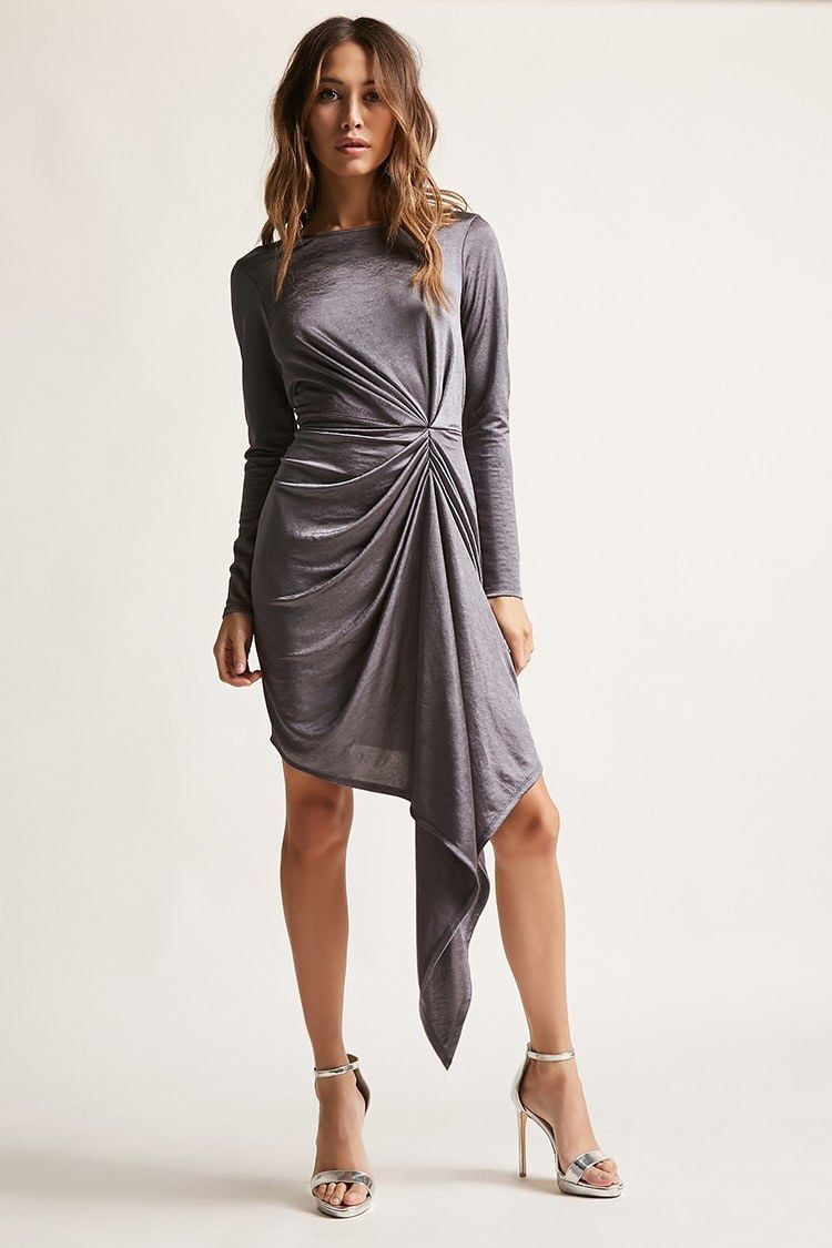 An asymmetrical ruched dress that makes you scrunch your nose at
