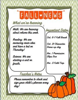 This Fall Newsletter Template Is Editable On Word You Can Change