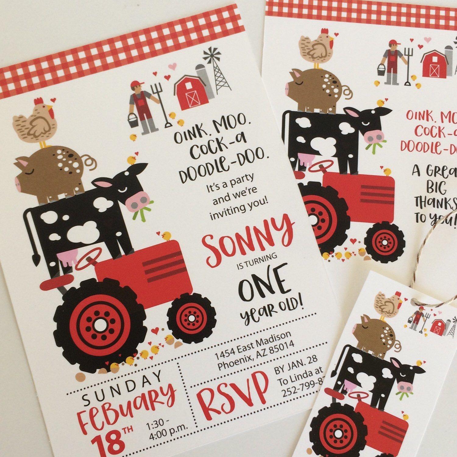 Farm, Animals, Tractor, Farmer Birthday, Party, Invitations, Girls, Boys