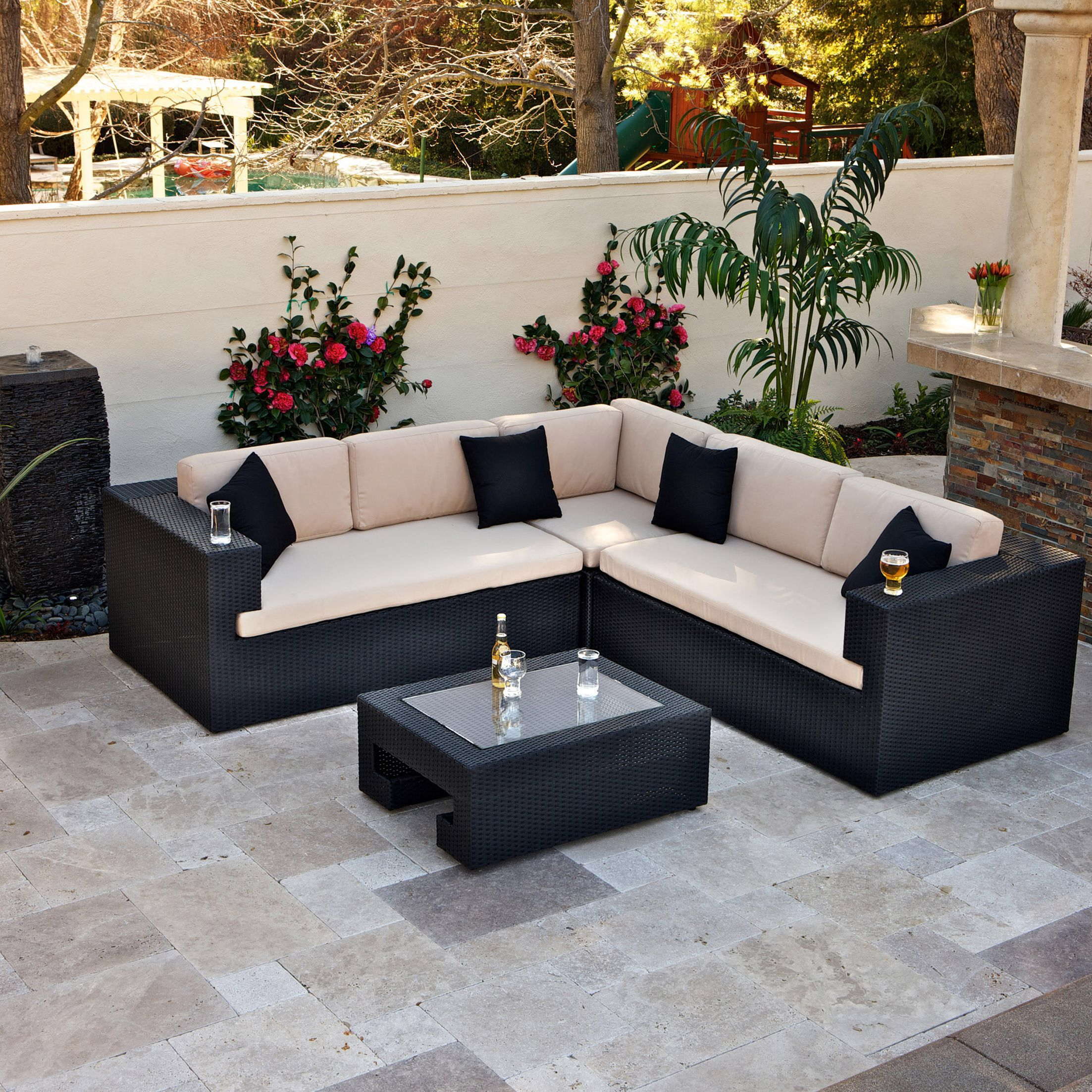 Brooklyn 4 Piece Seating Group In Black With Cushions With Images