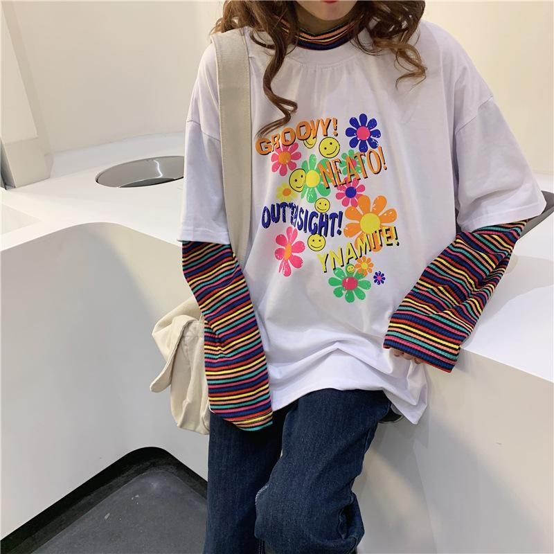 Rainbow Sleeve Splicing T Shirt - L / Black
