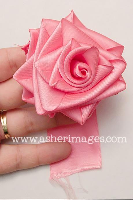 Ribbon Flowers Diy : ribbon, flowers, Tutorial, Ribbon, Flowers, Satin, Bead&Cord, Roses,, Fabric, Flower