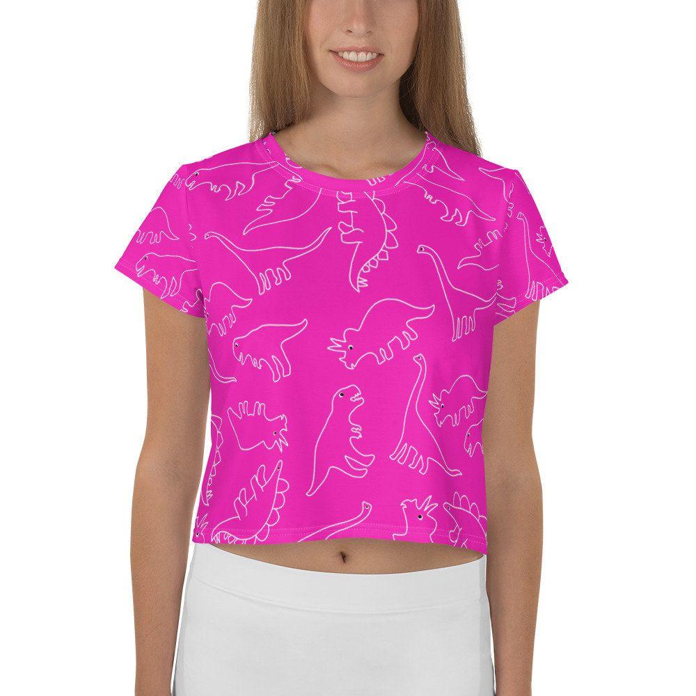 e0988ad5cac66 Pink Dinosaur Shirt Girl Dinosaur Crop Top Dinosaur Party Jurassic ...