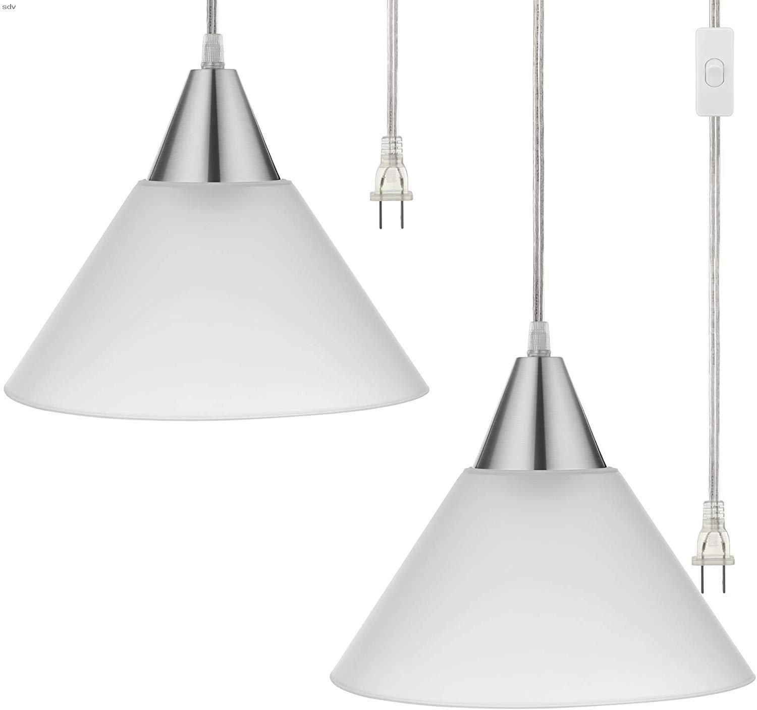 Dewenwils Plug In Indoor Pendant Hanging Light Interior Ceiling Light For Living Room Bedroom Dining Hall Frosted Plastic White Shade 15ft Clear Cord On Of Di 2020 #plug #in #lights #for #living #room