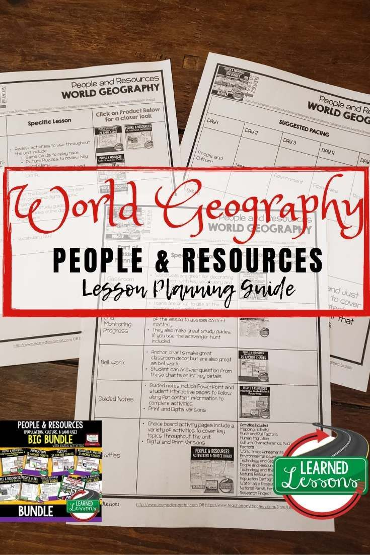 People and Resources Lesson Plan Guide for World Geography, Back To School