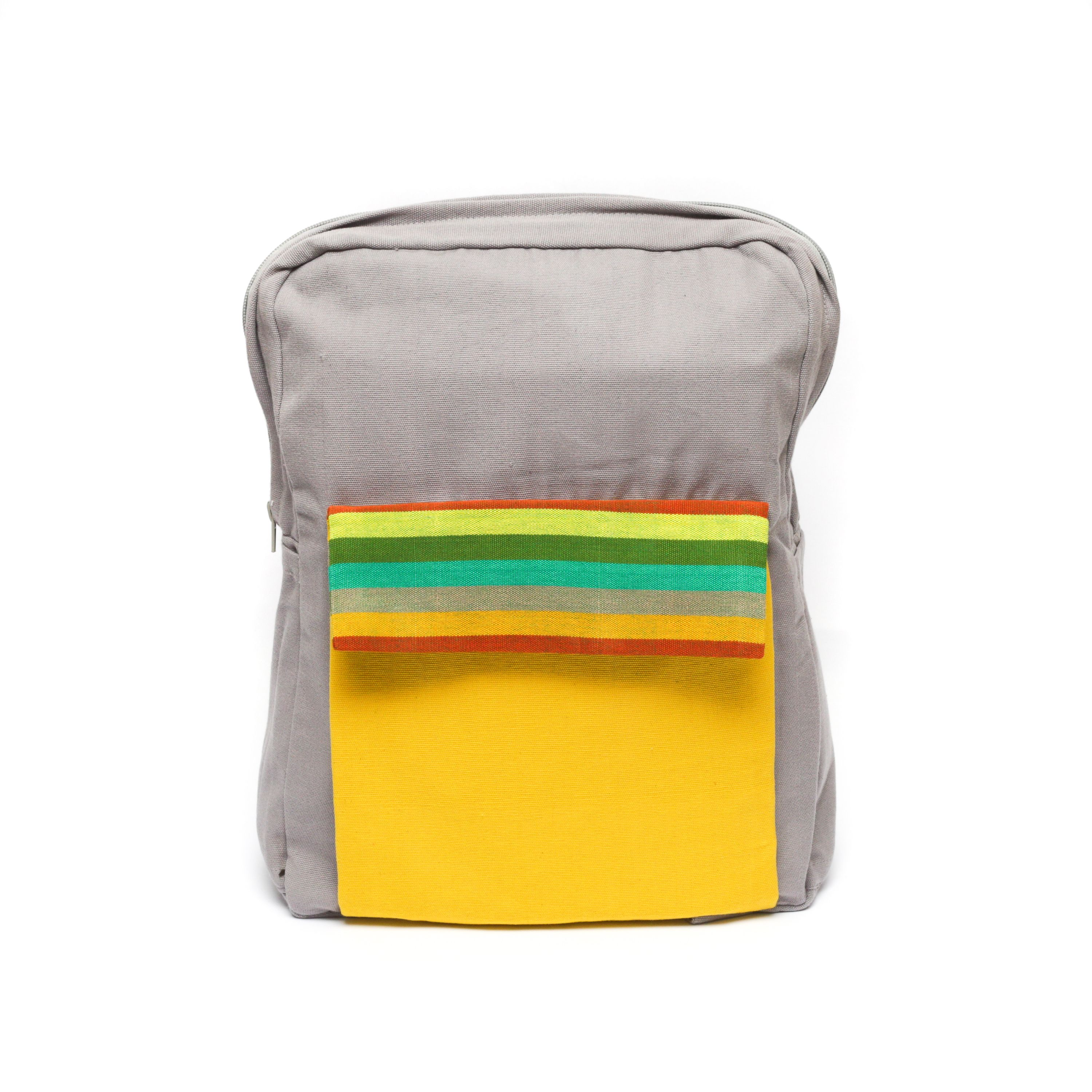 Backpack - Gray handloom material back pack with pops of yellow and colored stripes.  Convenient pouch on front of bag and adjustable straps for ideal comfort and convenience. Spacious interor to transport your various items.
