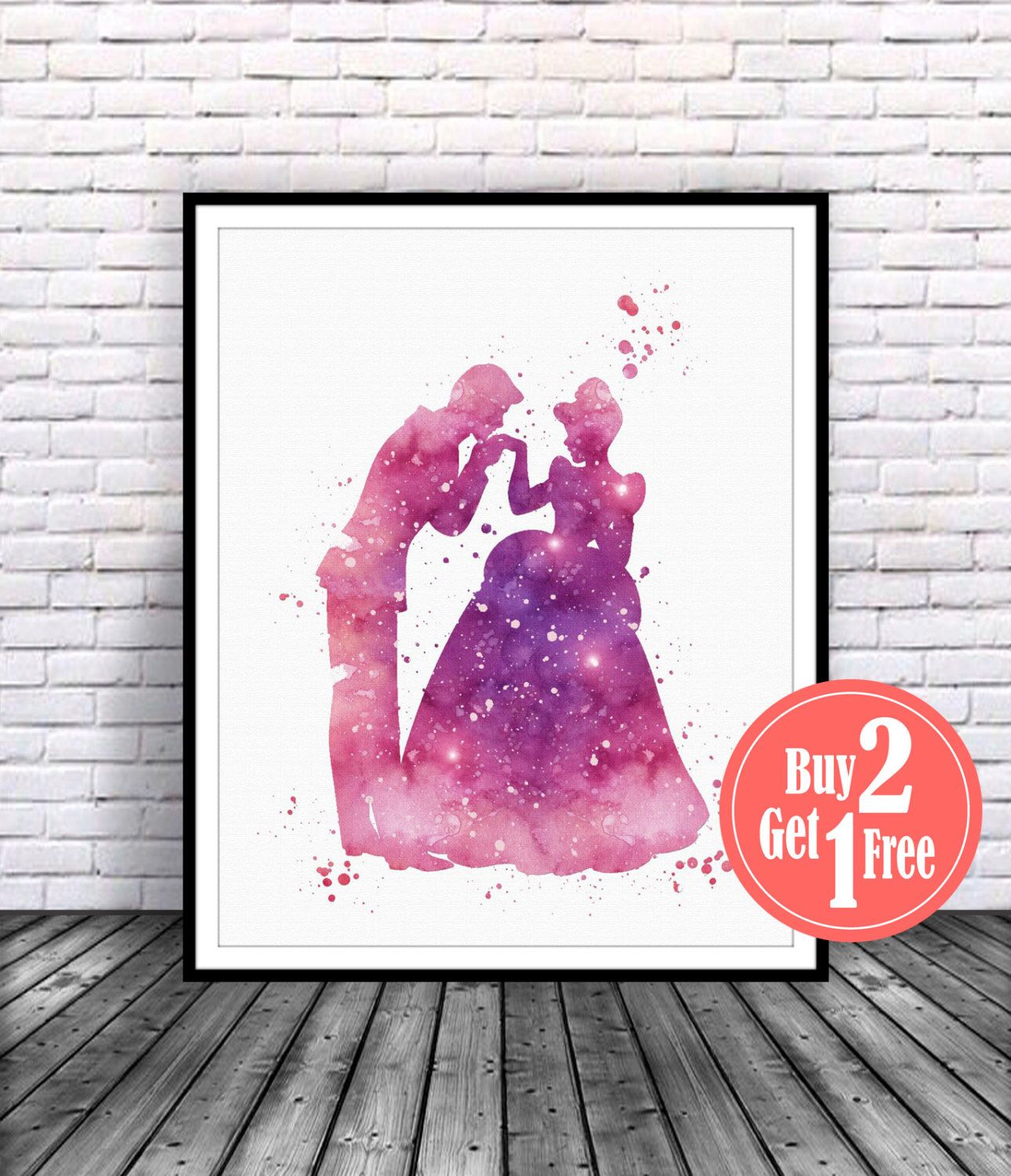Cinderella print, Prince Charming, cindrella Illustration, cinderella decor, cinderella art, cinderella wall art, disney watercolor by CarmaZoe on Etsy https://www.etsy.com/ca/listing/241198931/cinderella-print-prince-charming