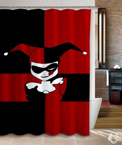 harley quinn batman joker cute face shower curtain | shower