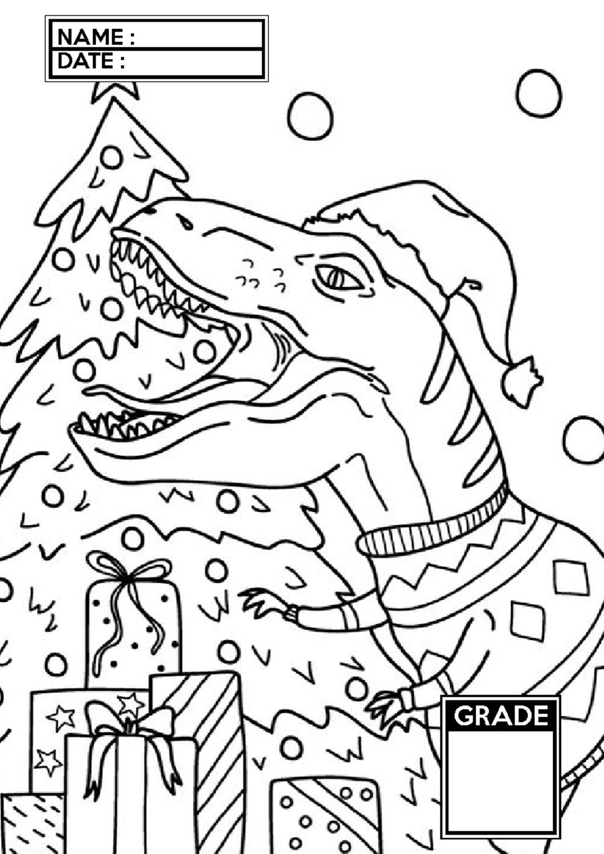 Dinosaur Coloring Pages T Rex Celebrates Christmas In 2020 Dinosaur Coloring Dinosaur Coloring Pages Coloring Pages