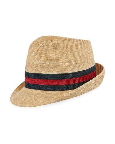 b567badfd29 GUCCI WOVEN STRAW TRILBY HAT W  WED DETAIL.  gucci