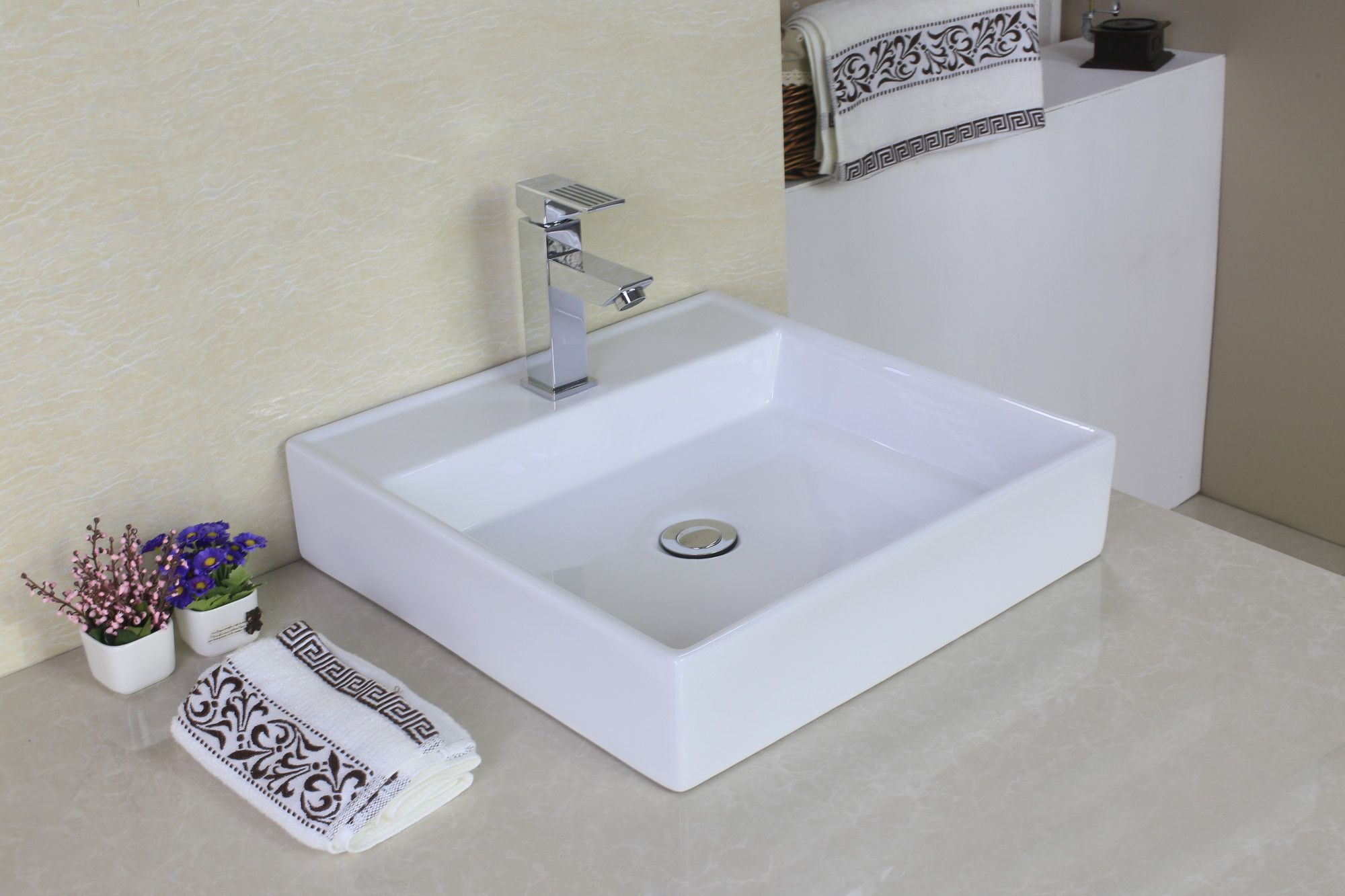 Ceramic Rectangular Vessel Bathroom Sink   Sinks and Products
