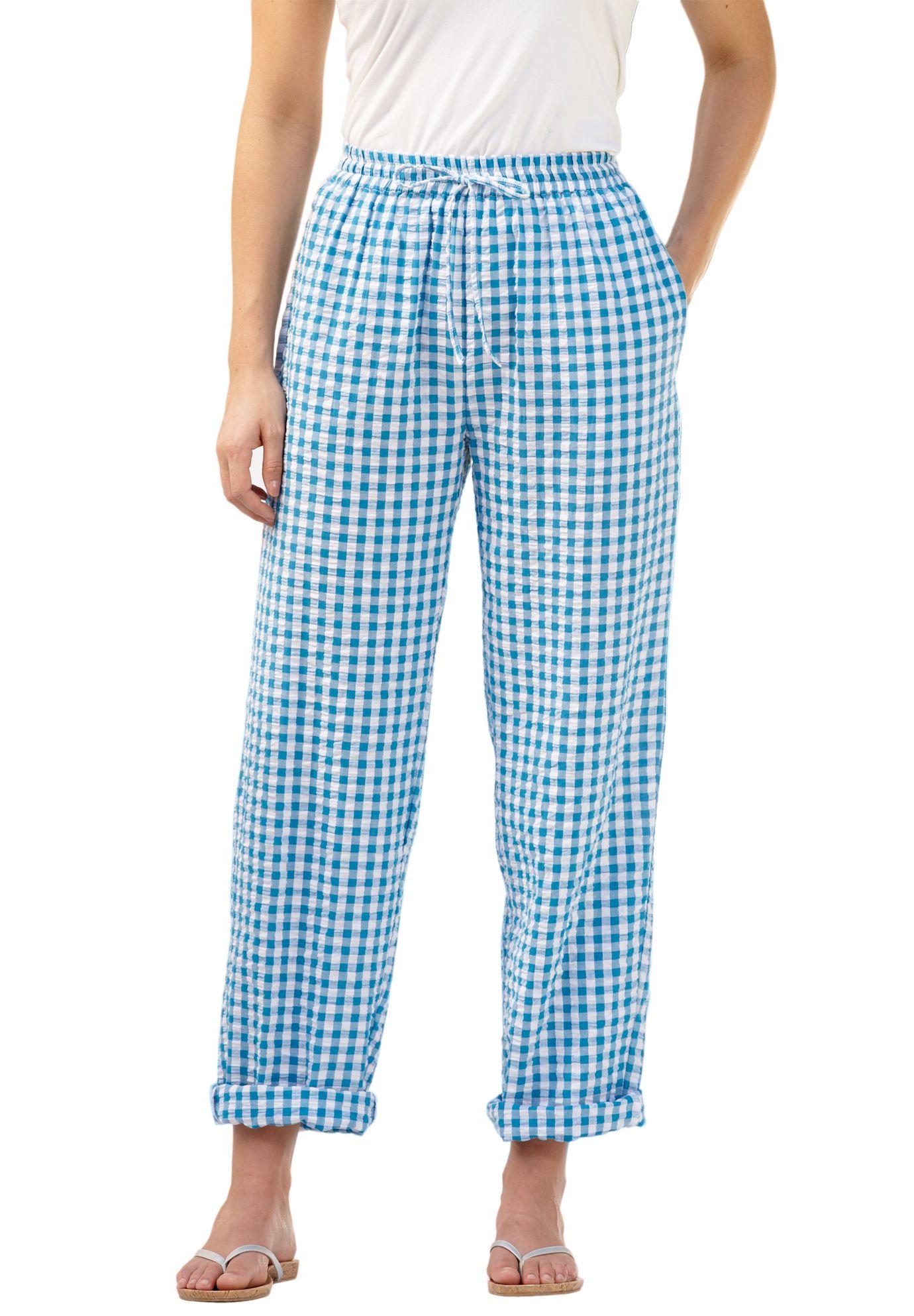 Seersucker Pants With Drawstring Trim Plus Size All Pants