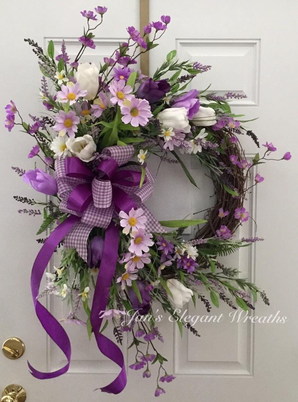 Photo of Ghirlanda Di Primavera. Ghirlanda Di Pasqua. Ghirlanda di tulipani. Daisy Wreath. Corona della festa della mamma. Corona viola.