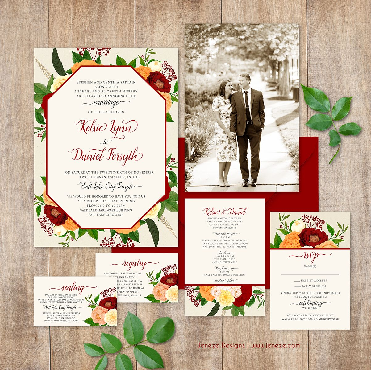 Beautiful floral wedding invitations with reds and oranges perfect