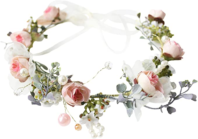 Boho Women/'s Floral Flower Festival Wedding Garland Flower Crown Head Band