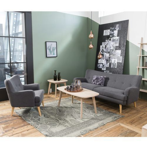 Design Sofa 3 Sitzer SAIDA Stoffbezug Holzbeine Natur Anthrazit Grau