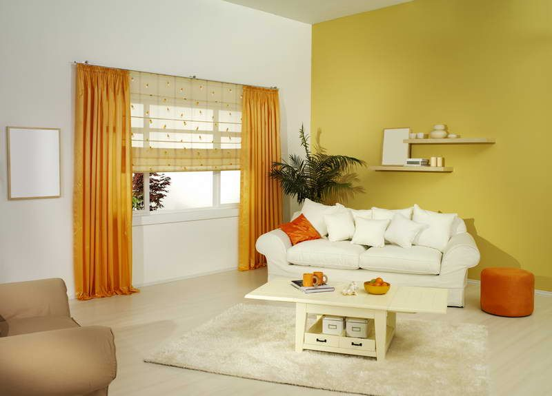Decoration, The Best Design Of Curtain For Yellow Walls With Orange ...