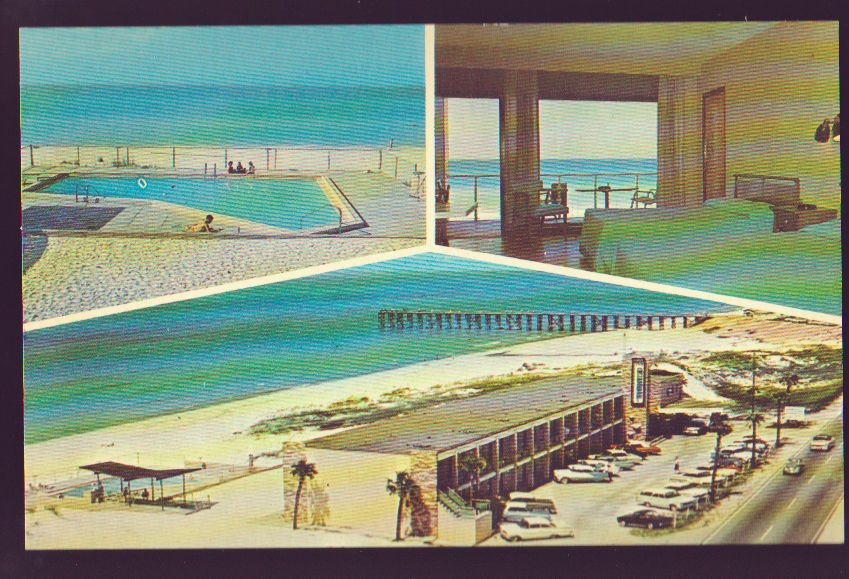 Panama City Beach Florida Fl The Reef Motel 1950 S Cars Multi View Postcard Pc