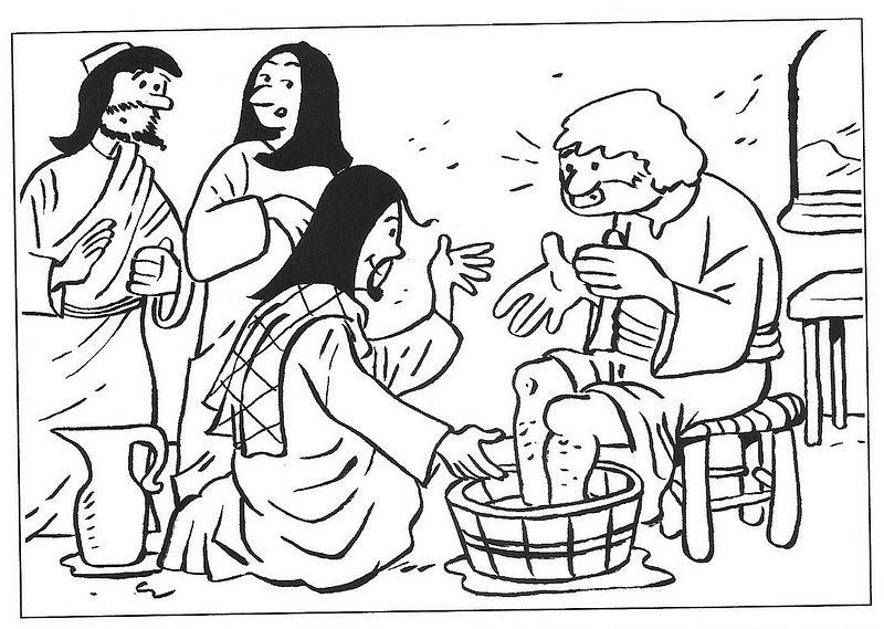 lavanda dei piedi da colorare | Jesus - Washes Disciples ...