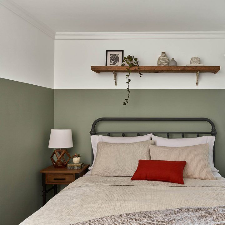 Bedroom wall painted with Valspar's 'Secret Moss', one of the 2020 paint color trends. MAYBE NOT THIS COLOR BUT I