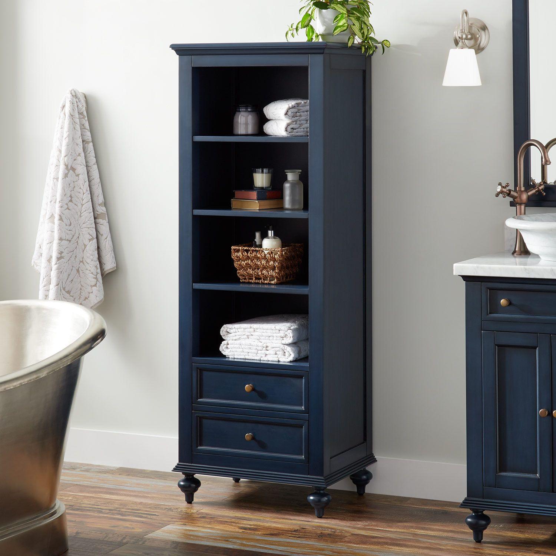 Keller Mahogany Linen Storage Cabinet Vintage Navy Blue Linen