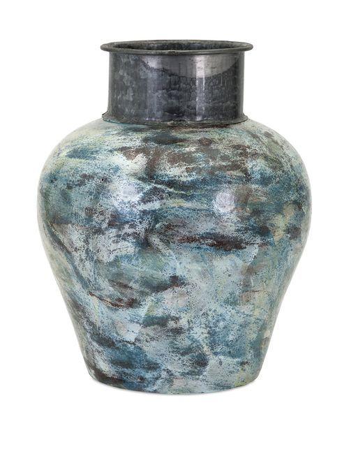 """Bastilla Large Vase with Metal Neck 14.5""""""""h x 11.25""""""""d"""