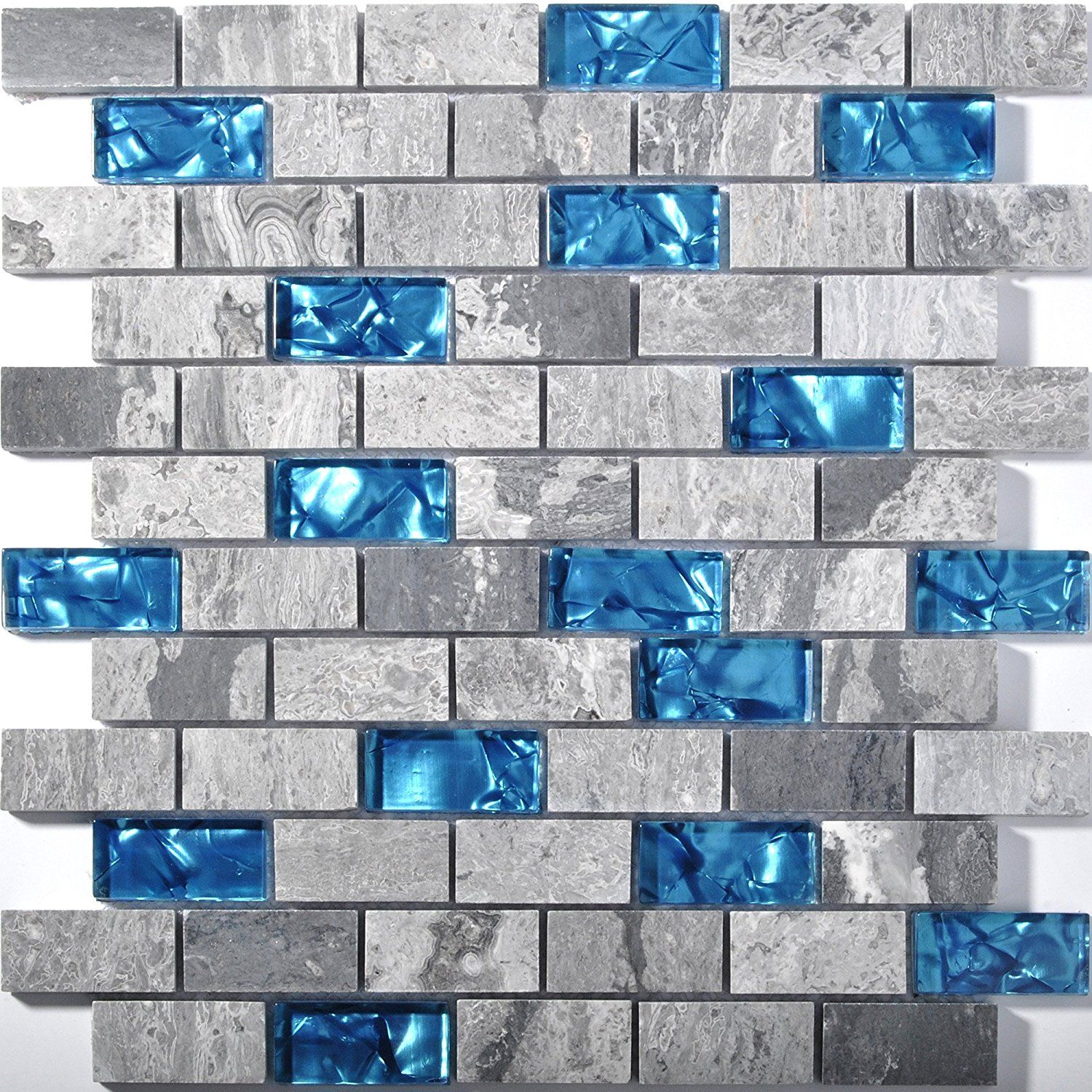 Ocean Blue Glass Nature Stone Tile Kitchen Backsplash 3D Bath Shower ...