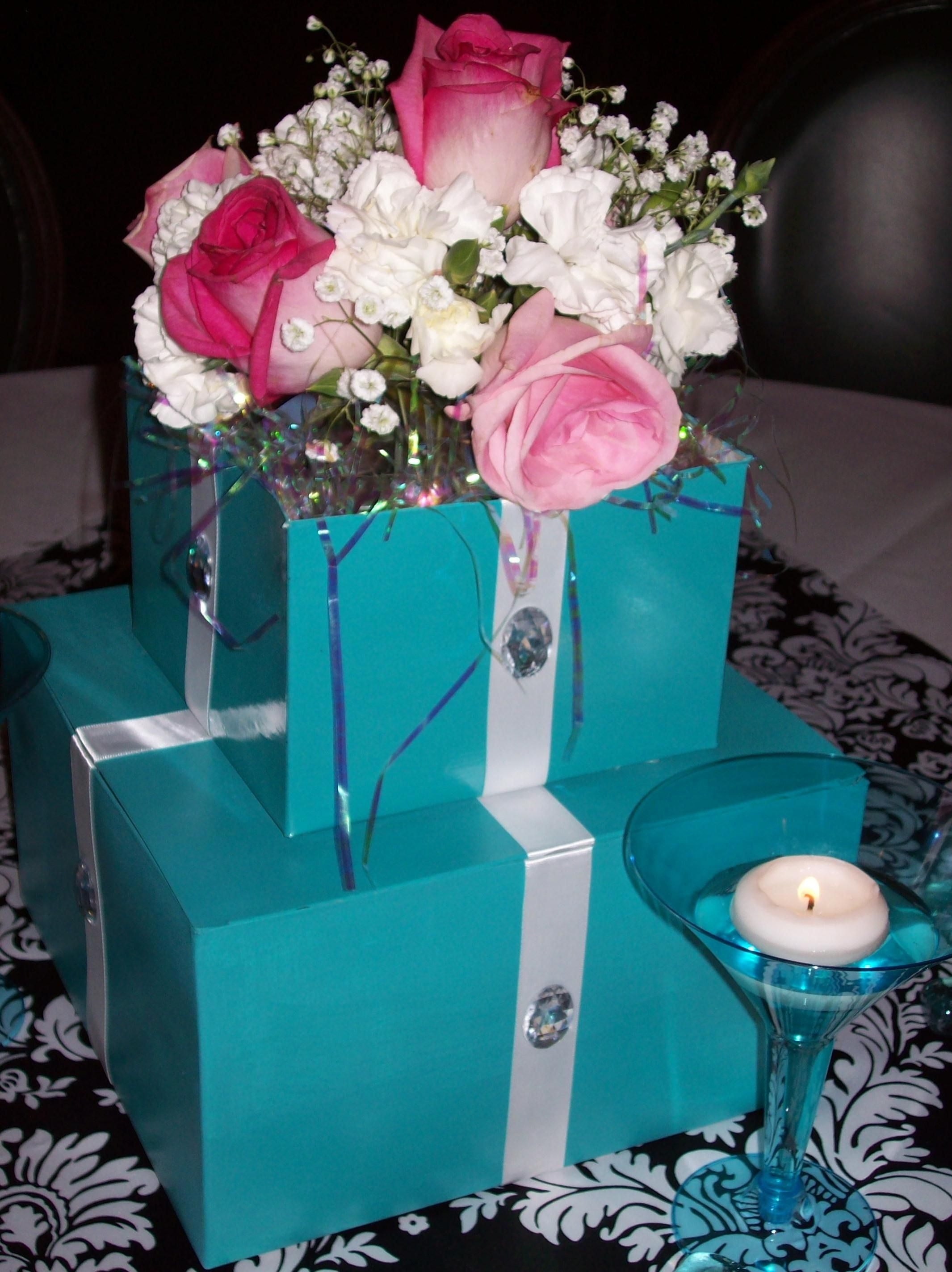 Diy Breakfast At Tiffanys Centerpiece For My Moms Birthday Painted Cake Boxes White Ribbo Breakfast At Tiffanys Party Ideas Flower Cake Breakfast At Tiffanys