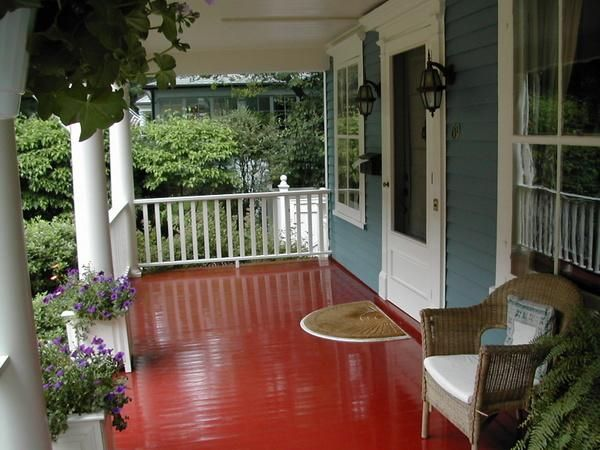 Wow Red Painted Porch Floor Red Floor Porch Flooring Decks And Porches