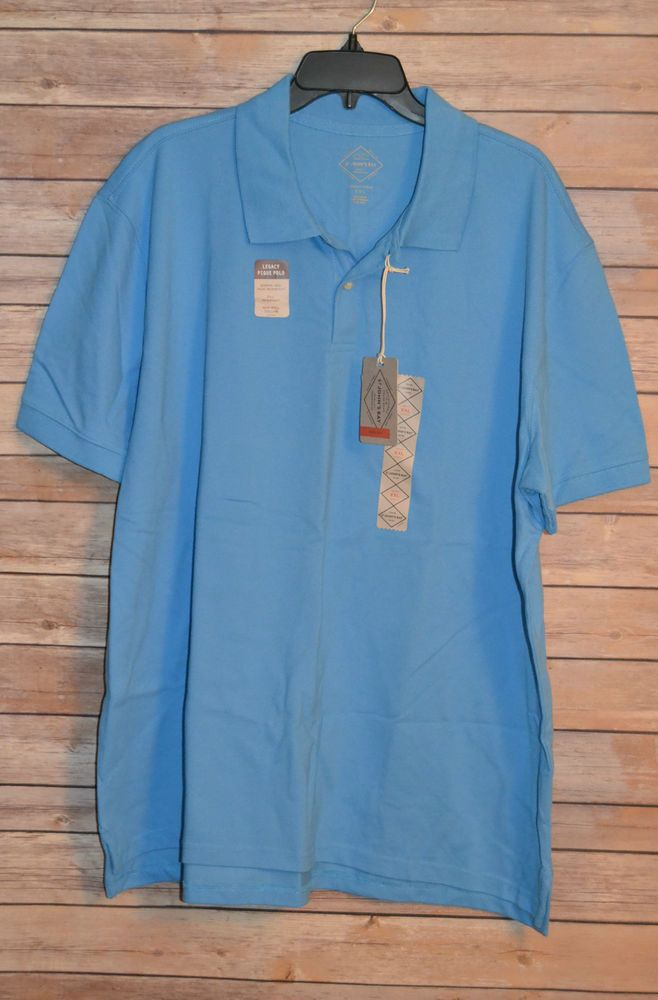 Mens Legacy Short Sleeve L Polo Golf Shirt Light Blue 2 On Tennis Tail Nwt