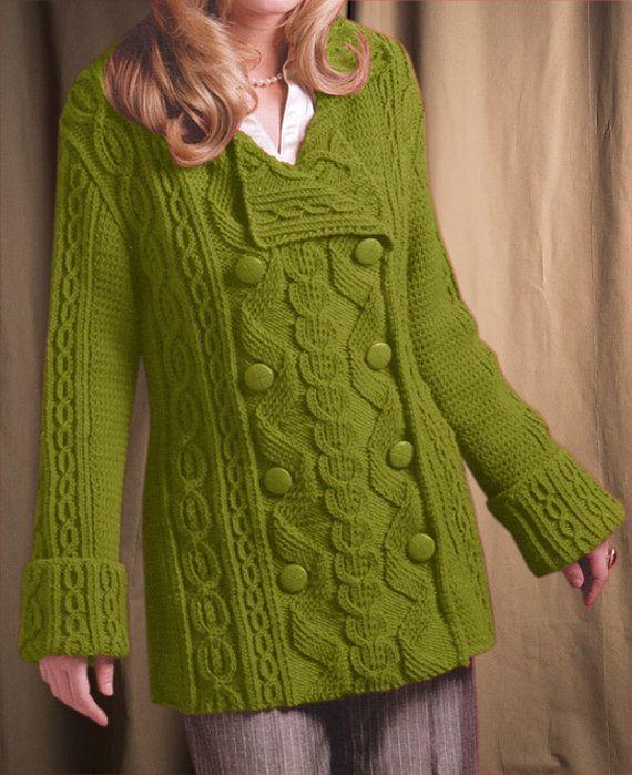 Hand Knit women\'s coat aran women\'s jacket women by BANDofTAILORS ...