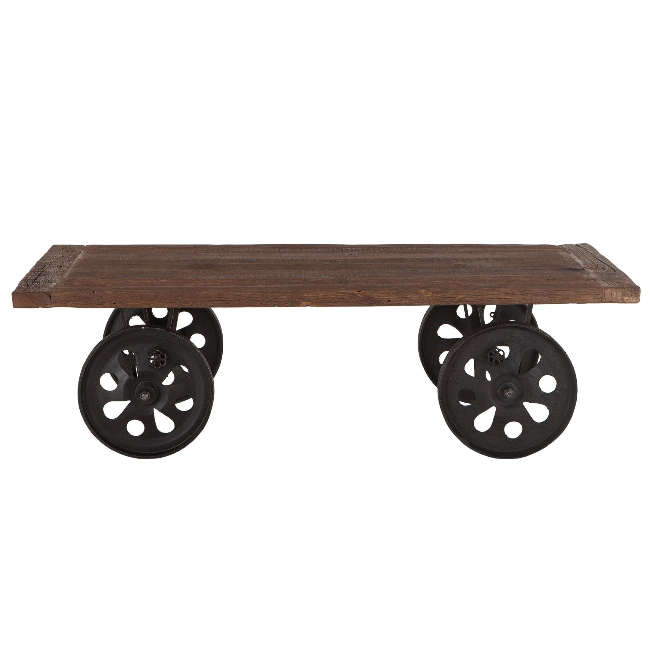 Artezia 64 Inch Reclaimed Teak Coffee Table With Wheels Assembled