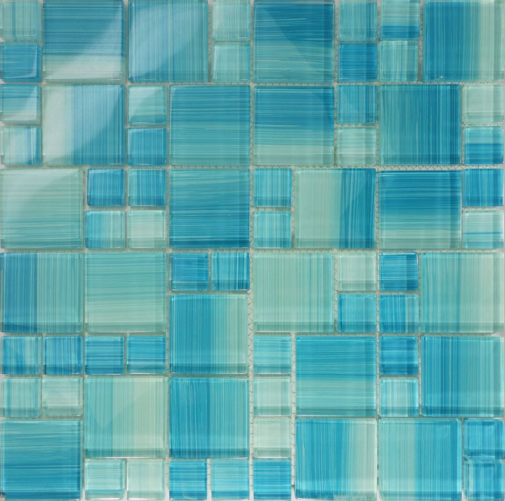 SAMPLE- Blue Hand Painted Glass Pattern Mosaic Wall Tile Kitchen ...