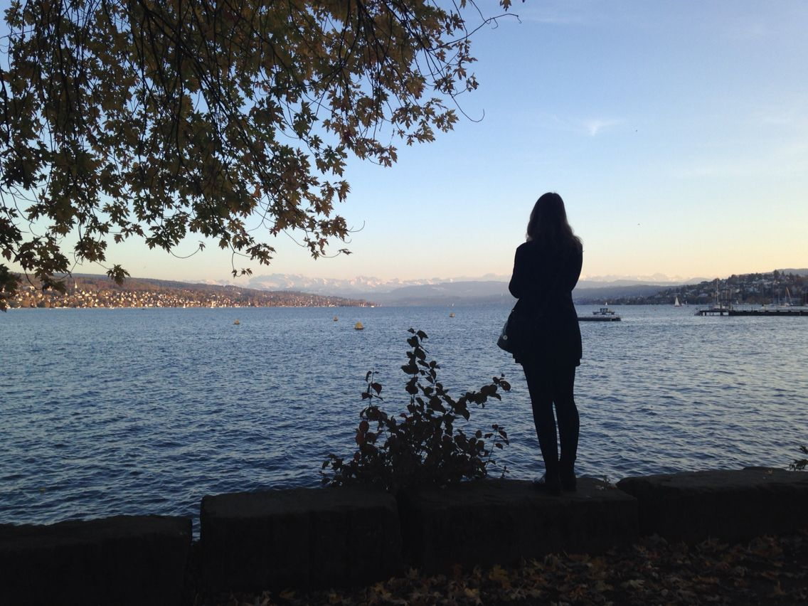 A candid photo of my friend in front of lake Zurich in Switzerland