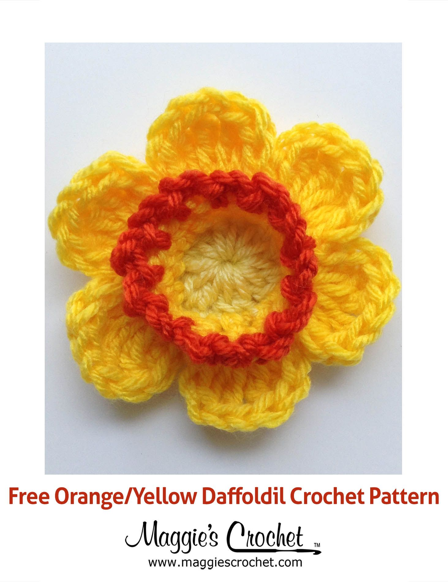 Orange & Yellow Daffodil - Free Crochet Pattern from Maggie's Crochet