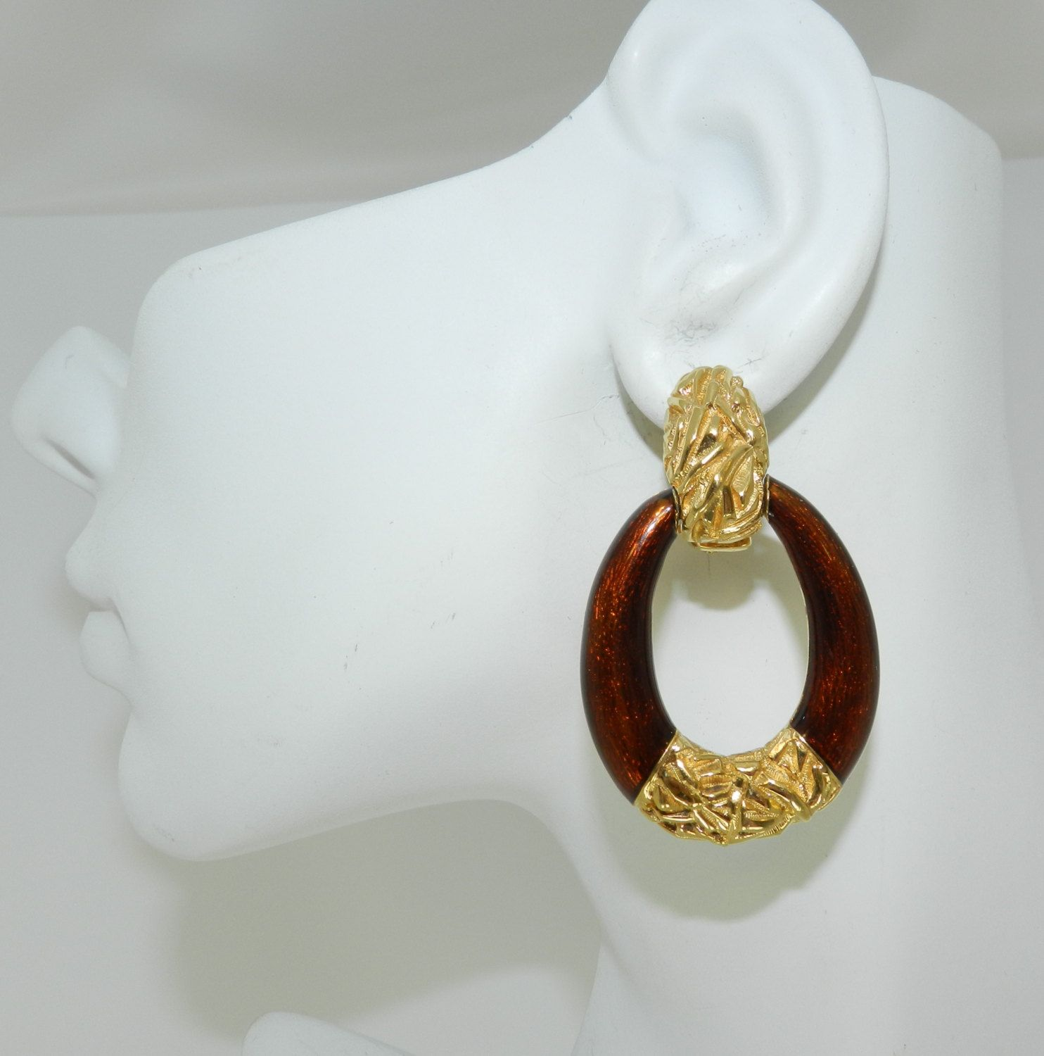 Ciner Door Knocker Earrings 90s Fashion Jewelry High End Designer