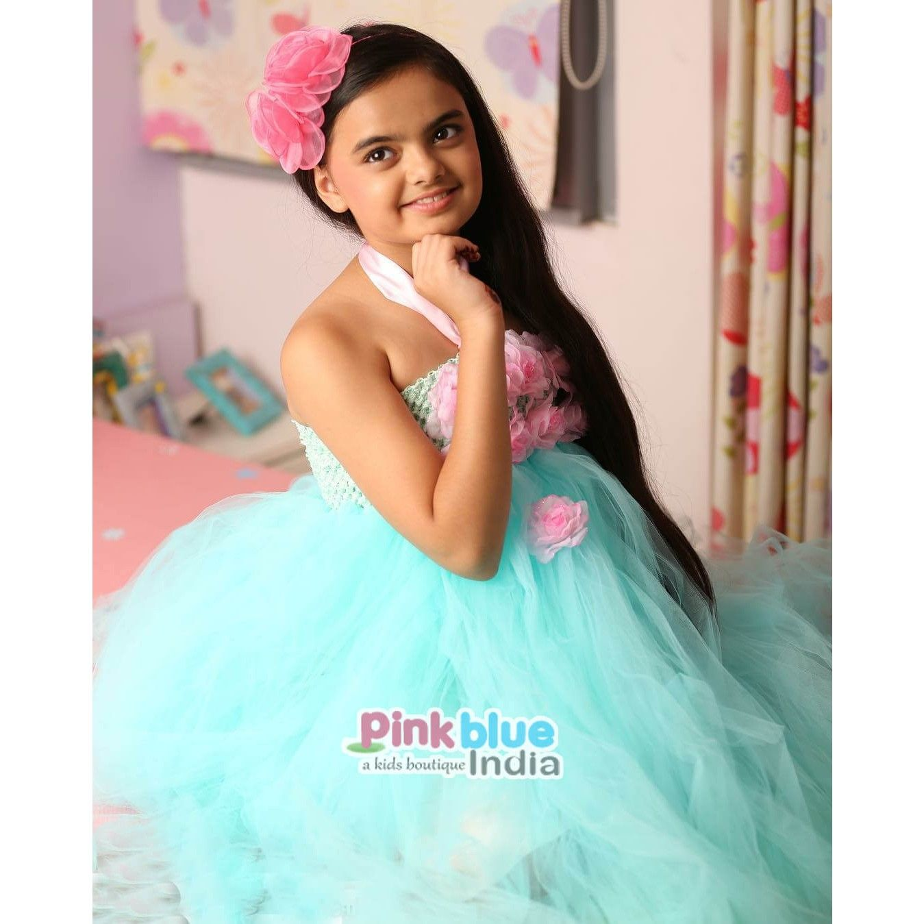Tutu Birthday Party Dress for Kids in Pink Flowery Bodice and Cyan ...