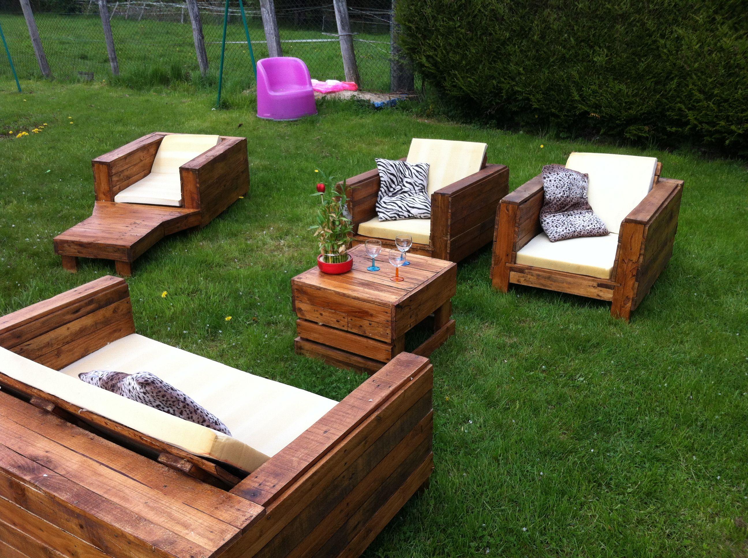 Salon De Jardin Avec Palettes | Fabriquer Meubles Jardin Avec Des ...