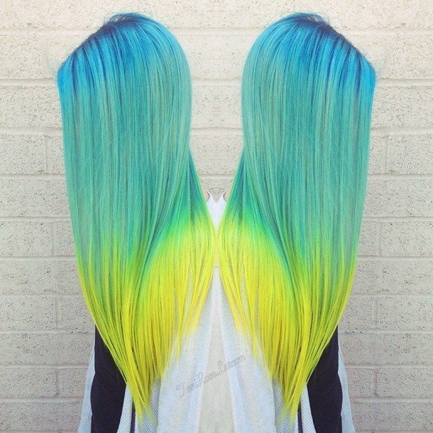 Fluorescent Dip Dye Bold Hair Color Bright Hair Colors Cool